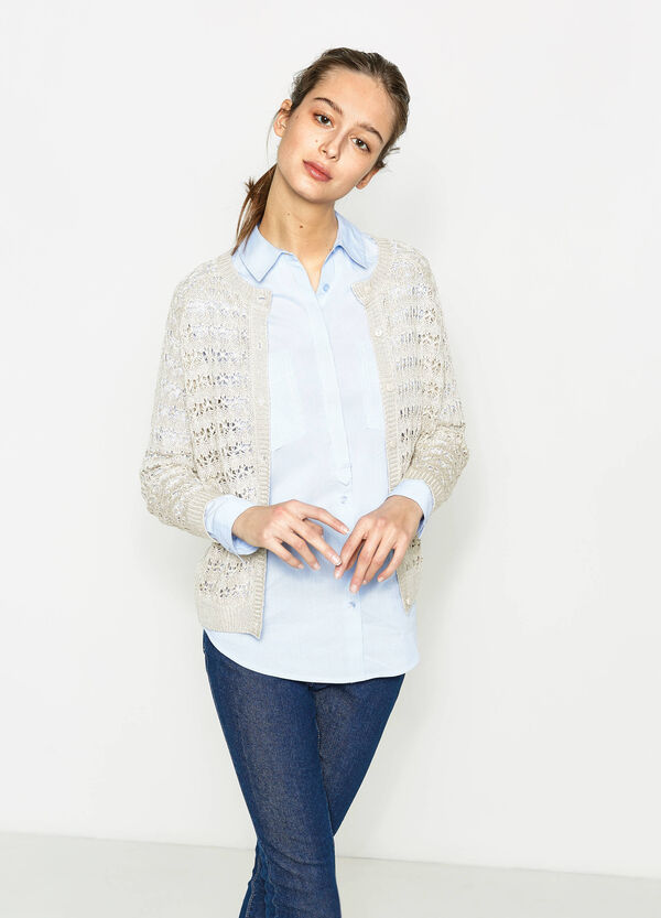 Solid colour knitted openwork cardigan | OVS