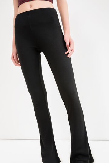 Solid colour stretch viscose leggings, Black, hi-res
