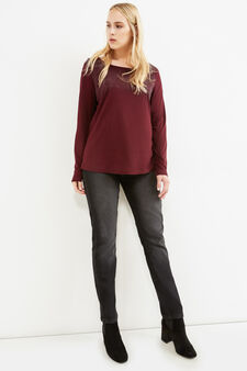 Curvy T-shirt with diamantés in 100% viscose, Aubergine, hi-res