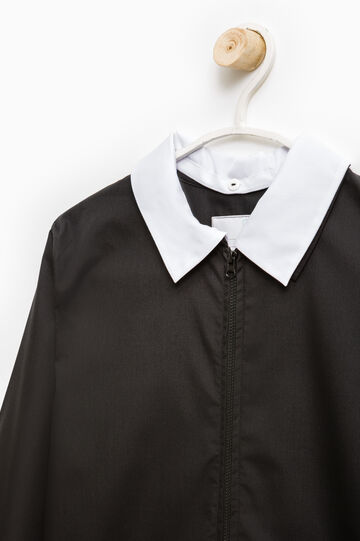 Cotton blend smock with zip, Black, hi-res