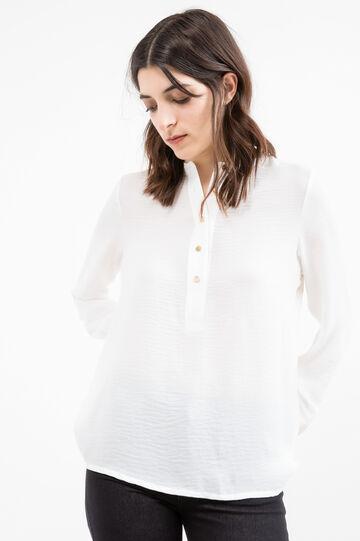 Blusa colletto coreana tinta unita, Bianco sporco, hi-res