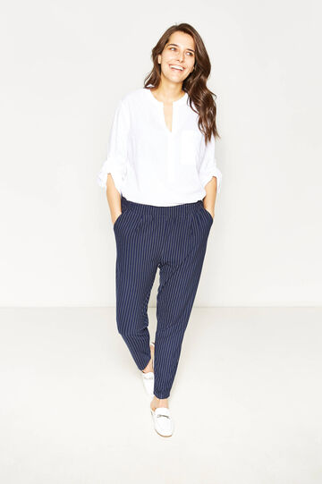 Curvy chalk-stripe trousers, White/Blue, hi-res