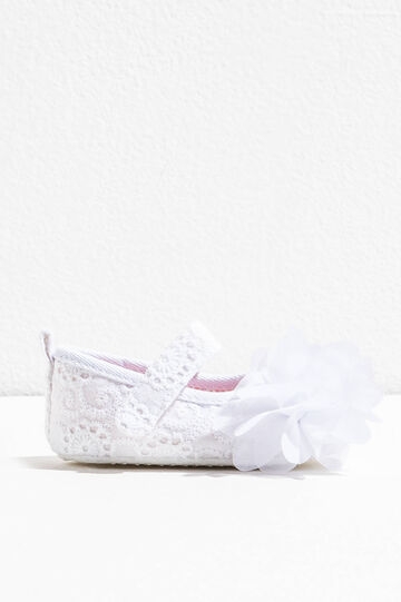 Bailarinas de encaje con flores de tul, Blanco, hi-res