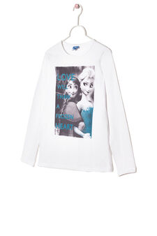 Stretch cotton T-shirt with Frozen print, Ice White, hi-res