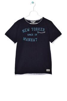 T-shirt with pocket, Dark Blue, hi-res