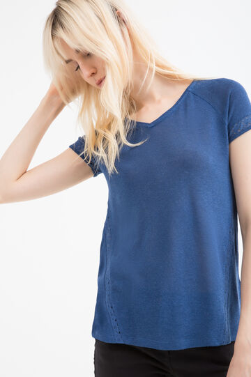 Linen and viscose blend T-shirt with inserts, Deep Blue, hi-res