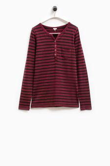 Smart Basic striped stretch T-shirt, Black/Red, hi-res