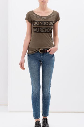 Jersey viscose T-shirt with maxi print., Army Green, hi-res