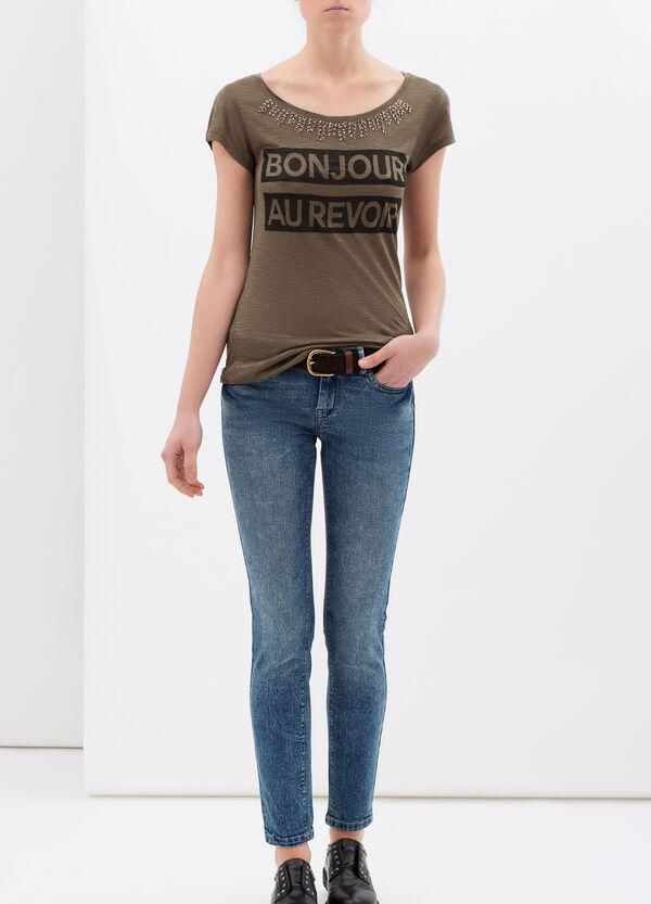 Jersey viscose T-shirt with maxi print. | OVS