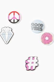Six coloured pins set, Multicolour, hi-res