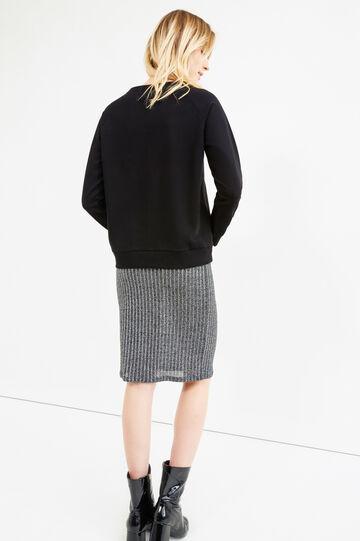 Stretch cotton hoodie with diamanté motif, Black, hi-res