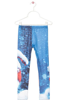 Stretch leggings with winter print, Milky White, hi-res