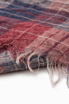 Viscose blend tartan scarf, Red, hi-res