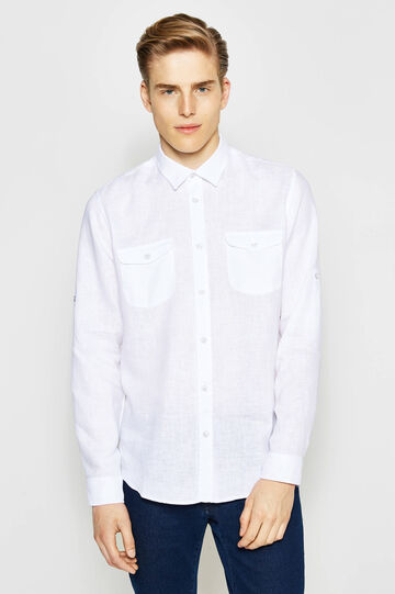 Casual linen shirt with bluff collar