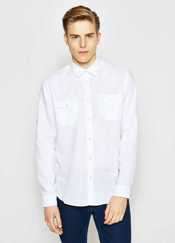 Casual linen shirt with bluff collar | OVS