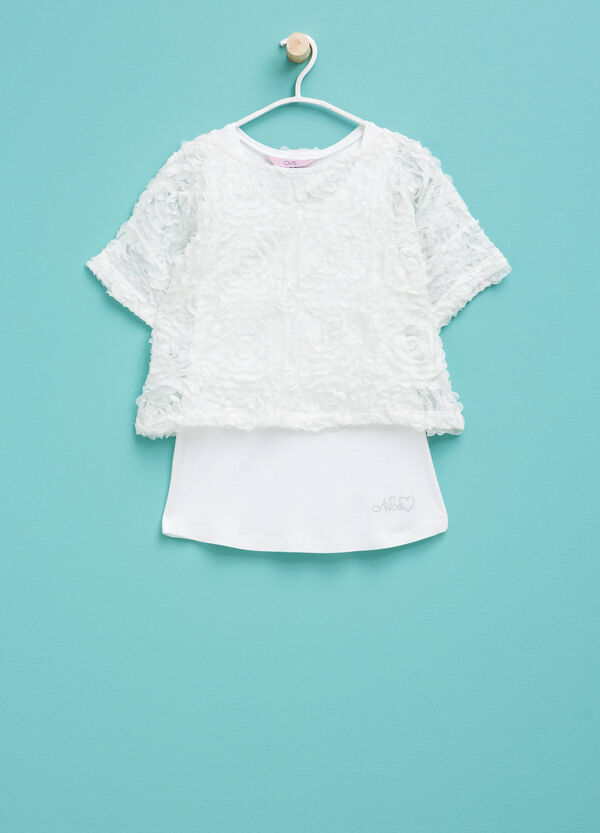 Viscose T-shirt with tulle faux layer | OVS