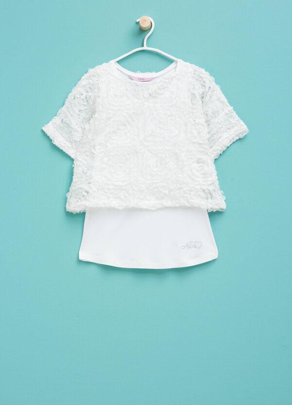 T-shirt in viscosa finto doppio in tulle | OVS