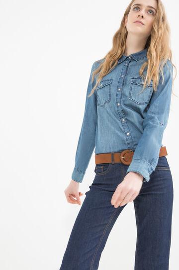 Denim shirt with pockets, Denim, hi-res