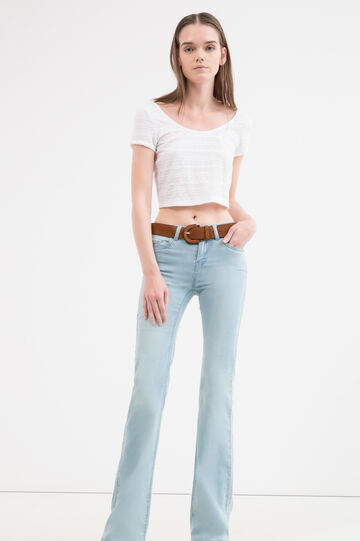 T-shirt crop stretch pizzo, Bianco latte, hi-res