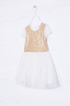 Vestitino paillettes gonna in tulle, Bianco latte, hi-res