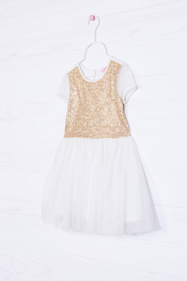 Tulle skirted dress with sequins. | OVS