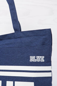 Cotton shopping bag with print, Blue, hi-res