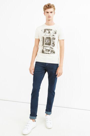 100% cotton printed T-shirt, Cream White, hi-res