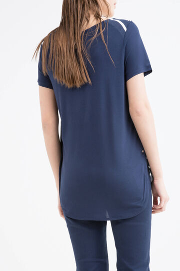 T-shirt in 100% viscose with side buttons, Blue, hi-res