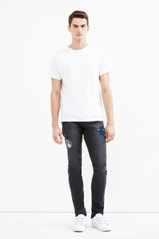 Stretch jeans with coloured patches, Denim, hi-res