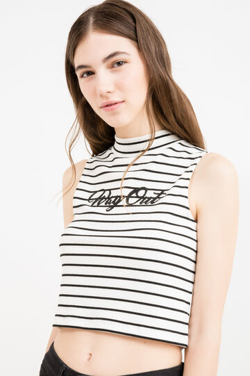 High-neck crop top in stretch viscose, Ecru, hi-res