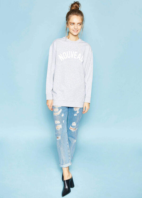 Long printed cotton sweatshirt | OVS