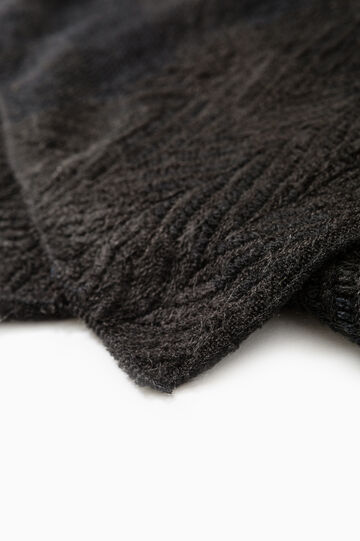 Knit scarf with embossed weave., Black, hi-res