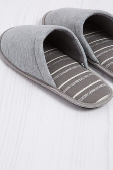 Slippers with striped lining, Grey, hi-res