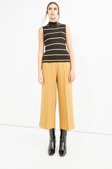 High-neck top with striped ribbing, Black/White, hi-res
