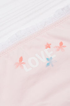 Stretch cotton printed briefs, Pink, hi-res