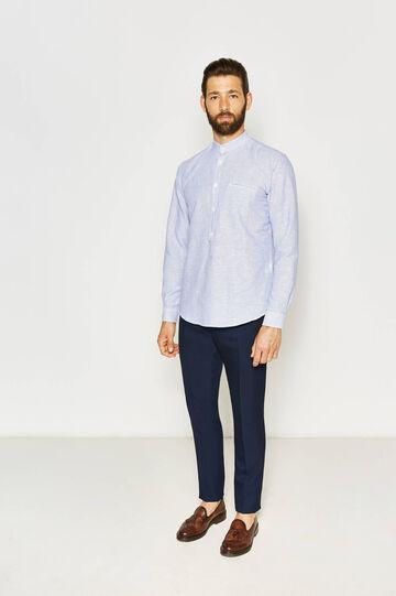 Camicia casual a righe con taschino, Bianco/Blu, hi-res