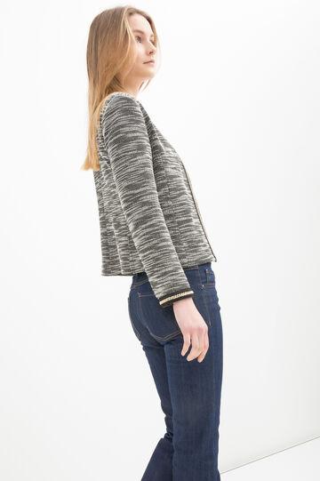 Stretch cotton blend blazer, Black/White, hi-res
