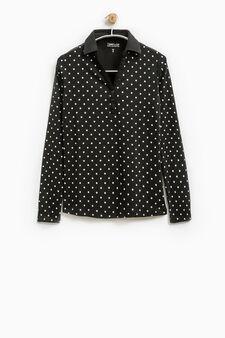 Smart Basic polka dot polo shirt, Black/White, hi-res