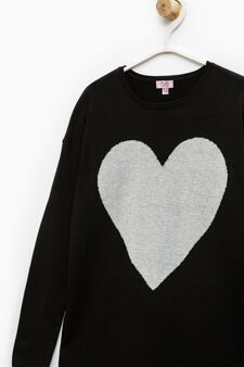 100% cotton oversized pullover with embroidery., Black, hi-res