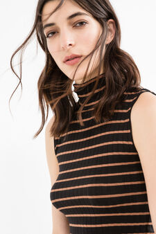 Stretch viscose top with striped pattern, Black, hi-res