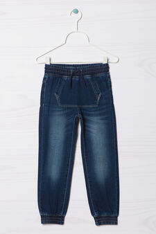 Worn-effect stretch jeans with drawstring, Dark Blue, hi-res