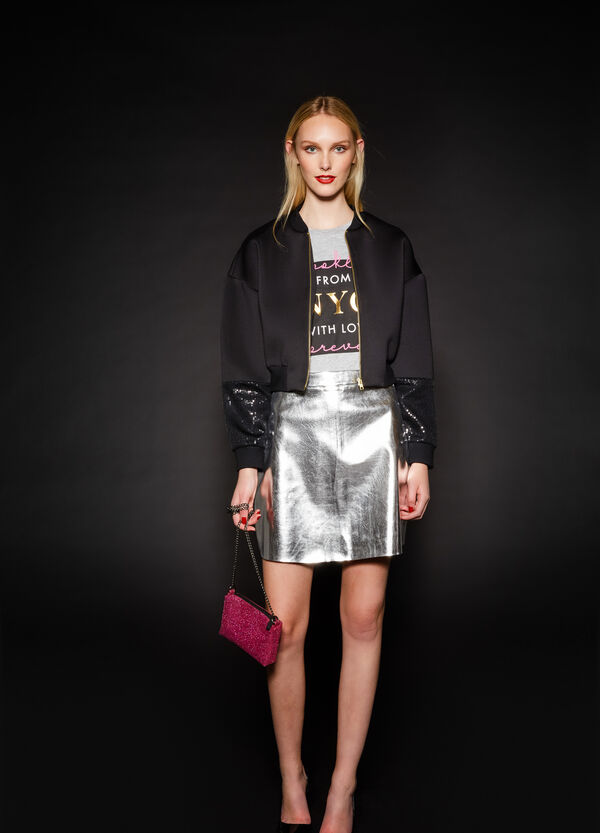 Stretch crop bomber jacket with sequins   OVS