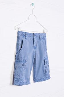Bermuda cargo shorts in 100% cotton, Deep Blue, hi-res