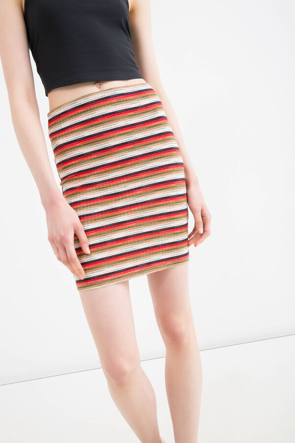 Stretch striped viscose skirt | OVS