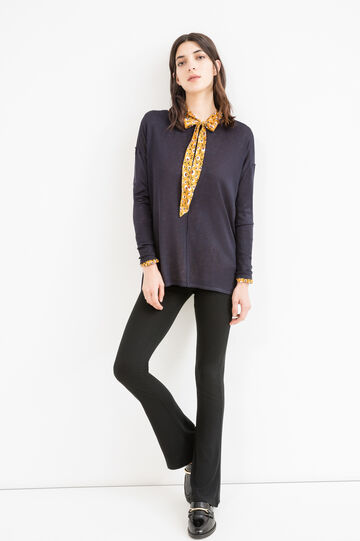 Cotton and viscose pullover with splits, Blue, hi-res