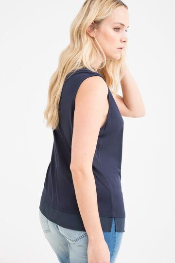 Curvy viscose T-shirt with tie, Navy Blue, hi-res
