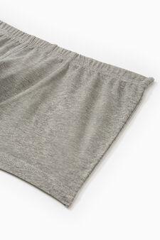 Boxer cotone con vita elasticata, Grigio melange, hi-res