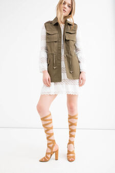 Solid colour 100% cotton waistcoat, Green, hi-res