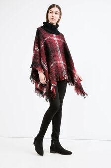 Poncho tricot fantasia tartan, Rosso scuro, hi-res