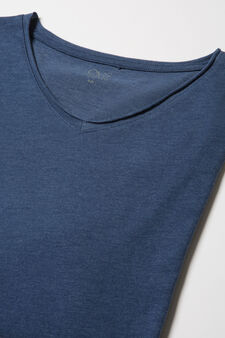 Stretch viscose blend pyjama top, Blue Marl, hi-res